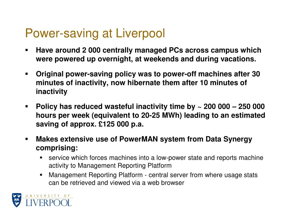 Power-saving at Liverpool