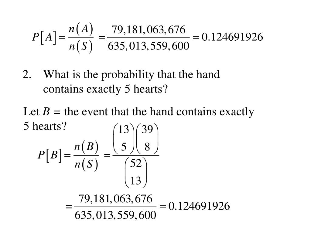 What is the probability that the hand contains exactly 5 hearts?