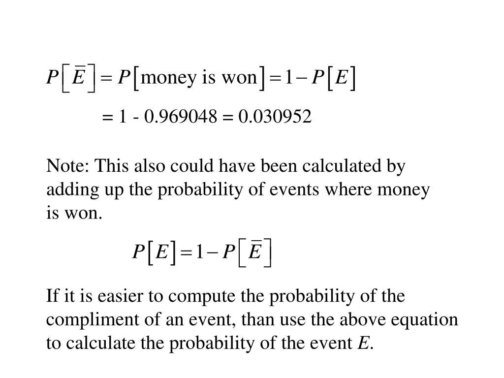 Note: This also could have been calculated by adding up the probability of events where money is won.