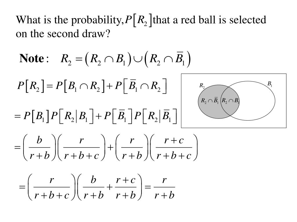 What is the probability,          that a red ball is selected on the second draw?