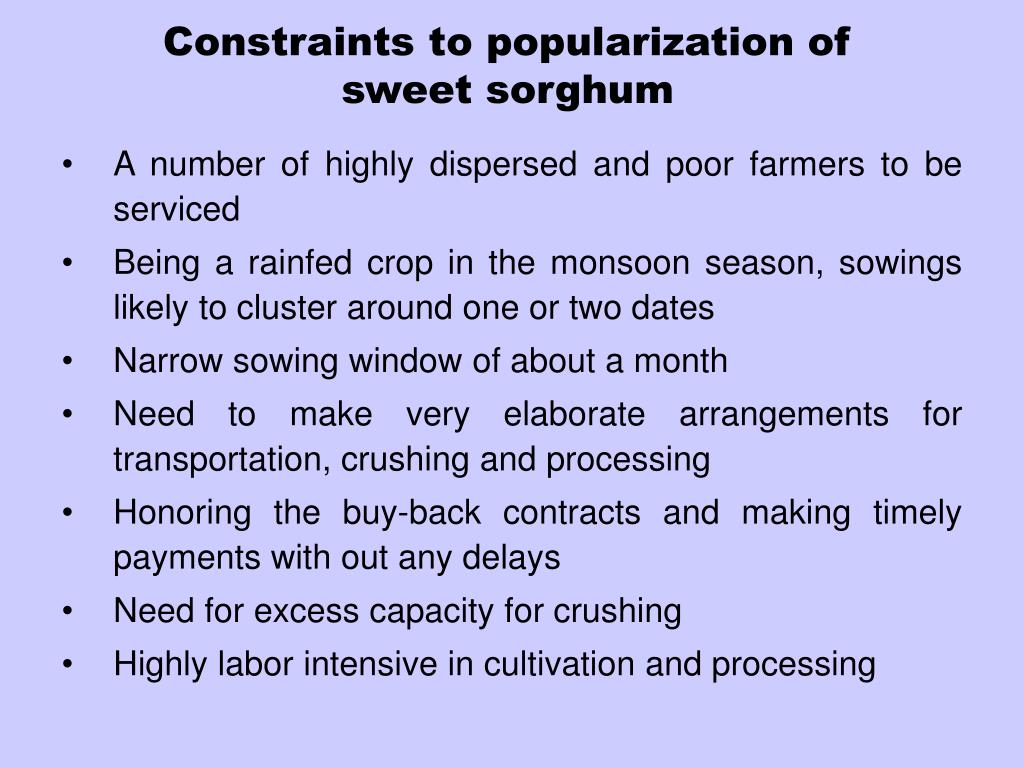 Constraints to popularization of