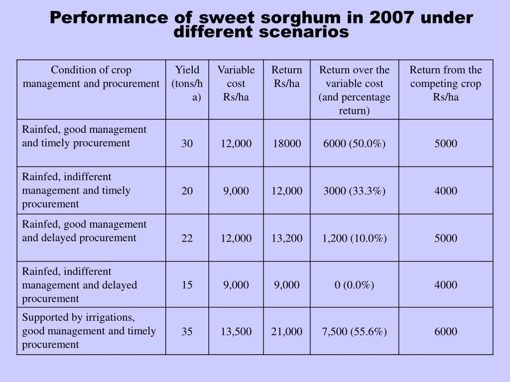 Performance of sweet sorghum in 2007 under different scenarios