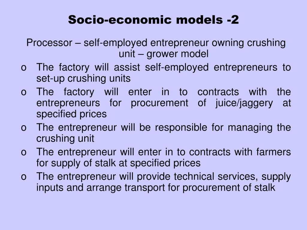 Socio-economic models -2