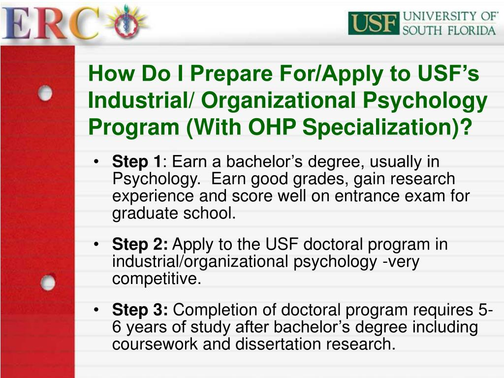 How Do I Prepare For/Apply to USF's Industrial/ Organizational Psychology Program (With OHP Specialization)?