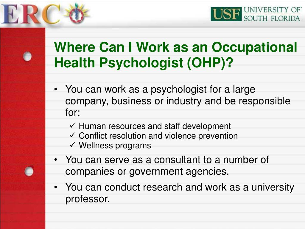 Where Can I Work as an Occupational Health Psychologist (OHP)?