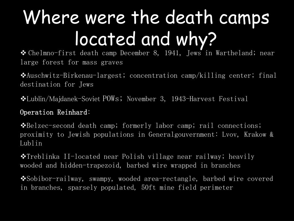 Where were the death camps located and why?