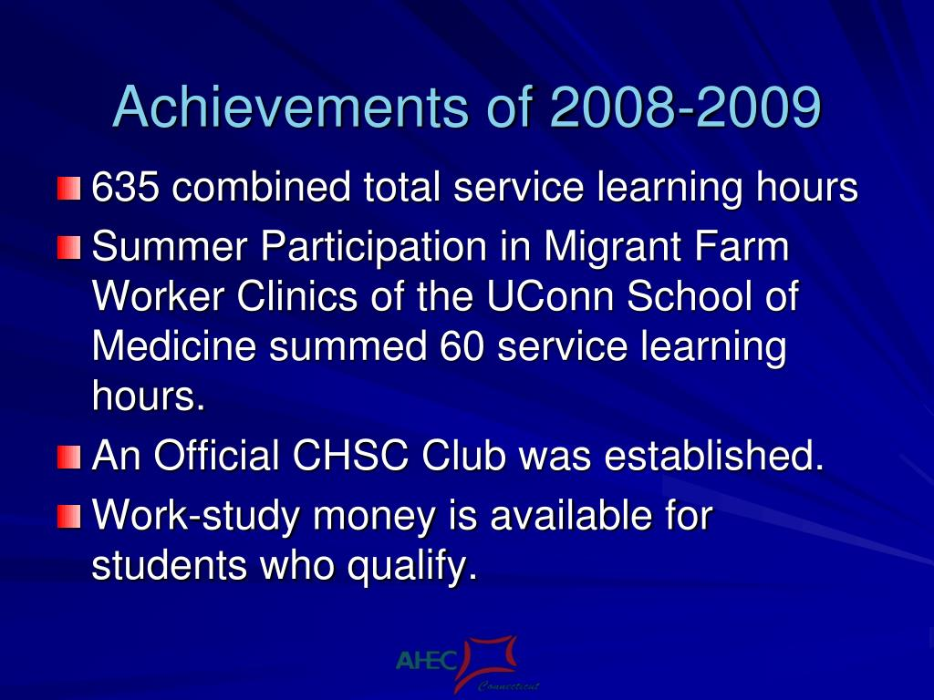 Achievements of 2008-2009