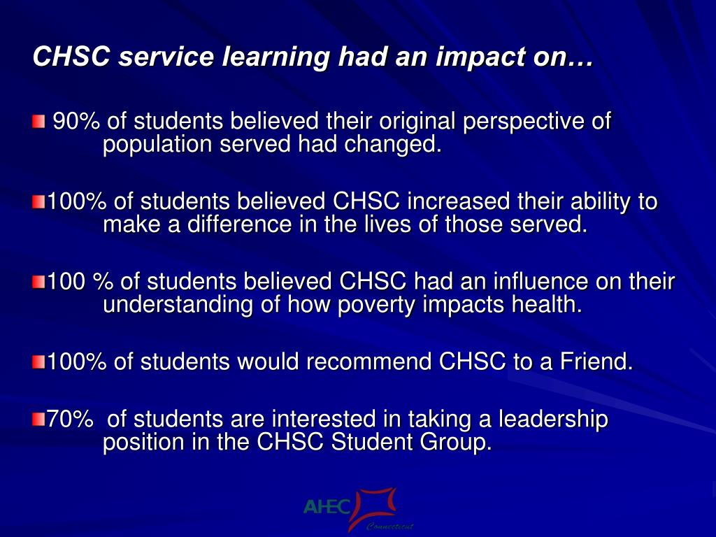 CHSC service learning had an impact on…