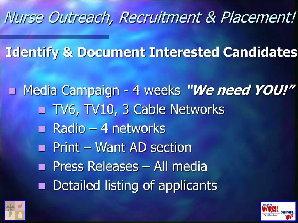Nurse Outreach, Recruitment & Placement!