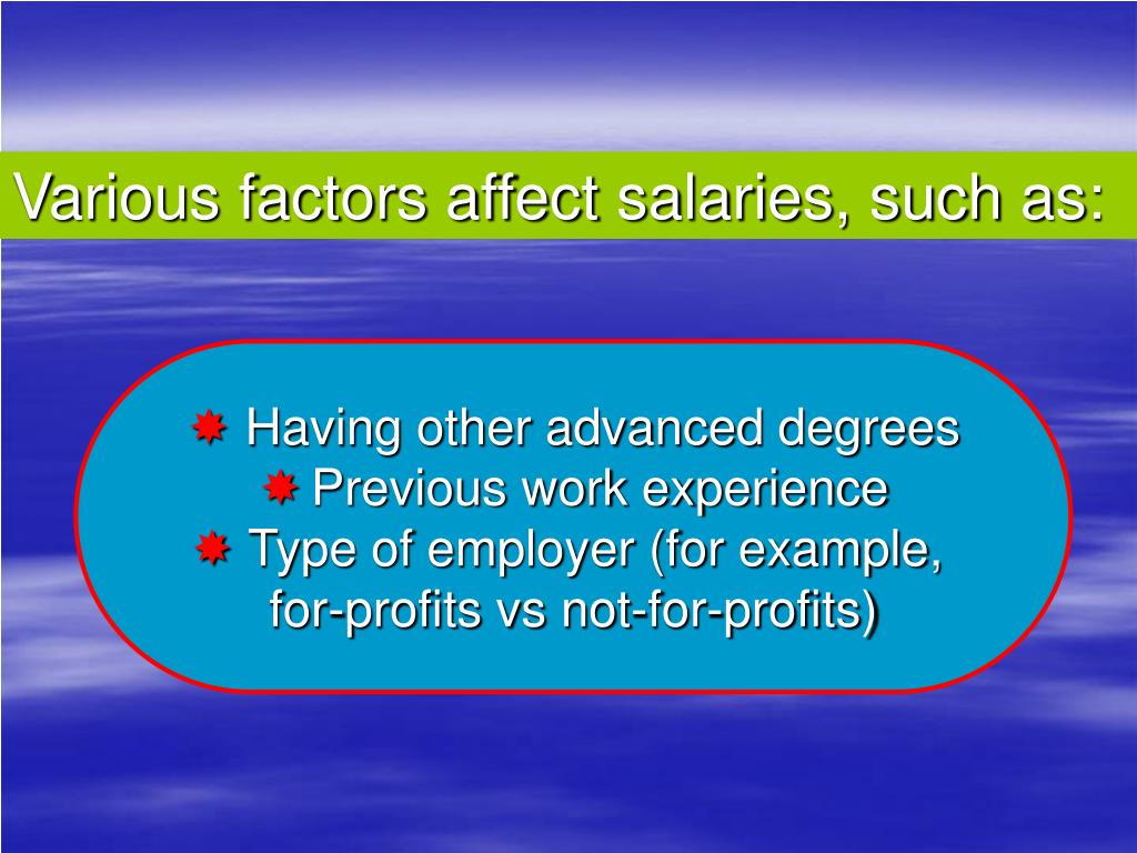Various factors affect salaries, such as: