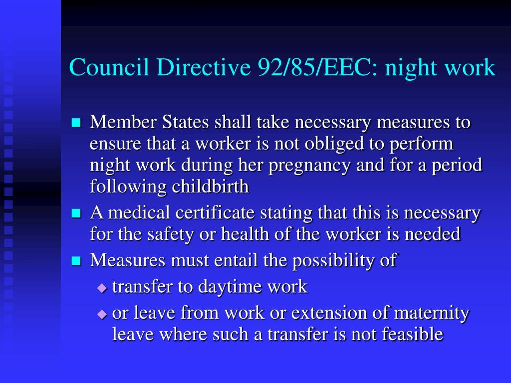 Council Directive 92/85/EEC: night work