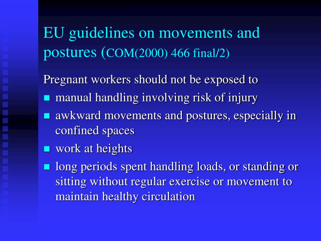 EU guidelines on movements and postures (