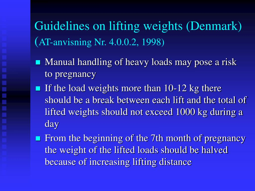 Guidelines on lifting weights (Denmark)
