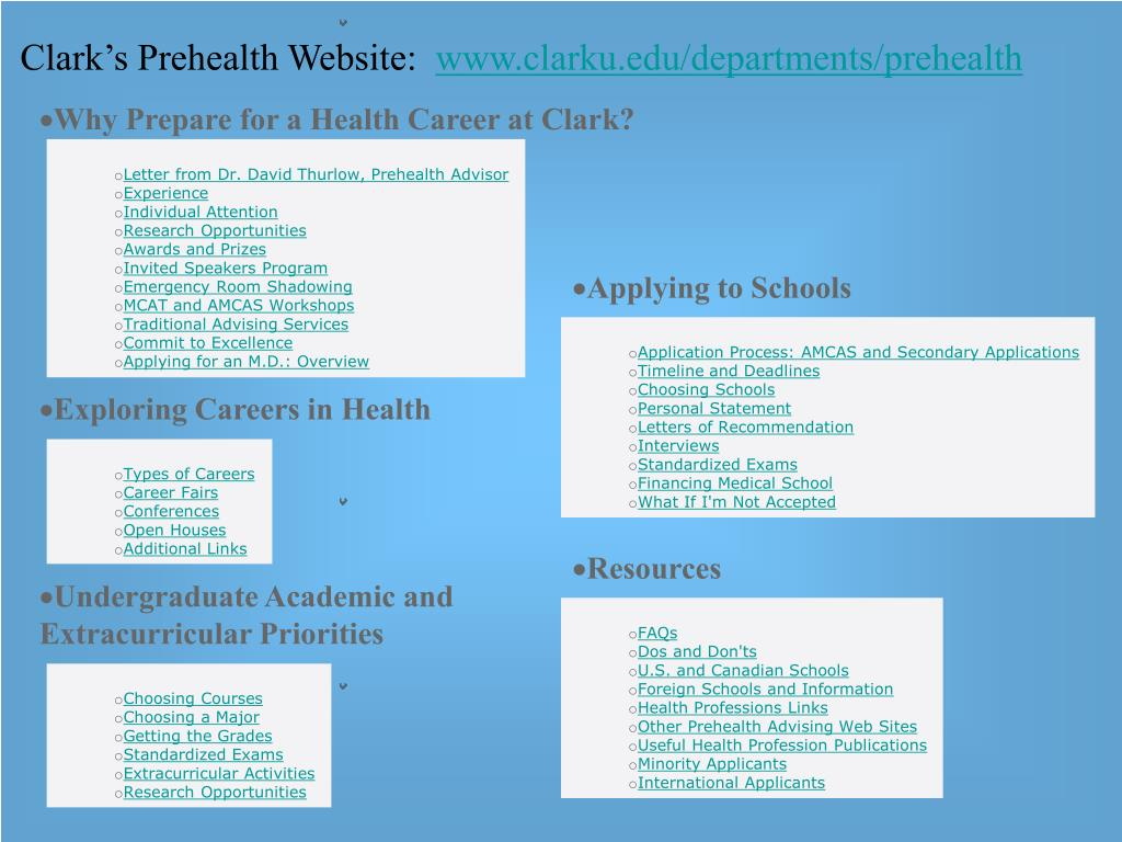 Clark's Prehealth Website: