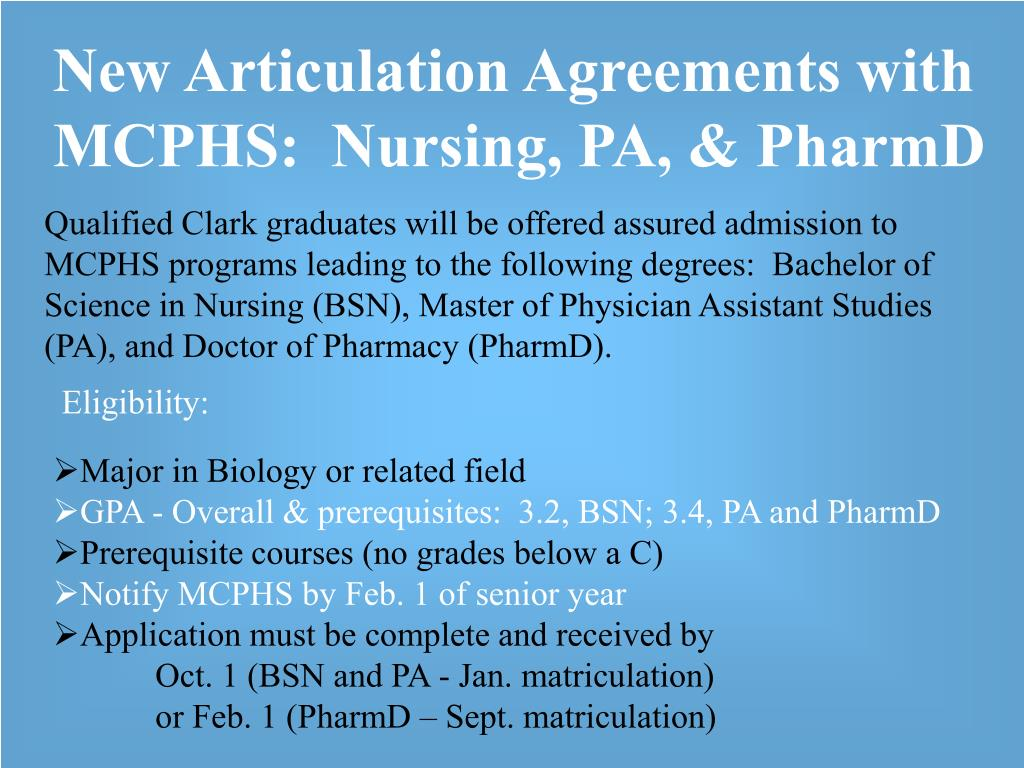 New Articulation Agreements with MCPHS:  Nursing, PA, & PharmD