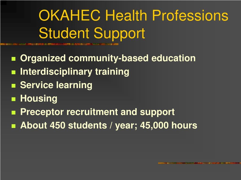 OKAHEC Health Professions Student Support