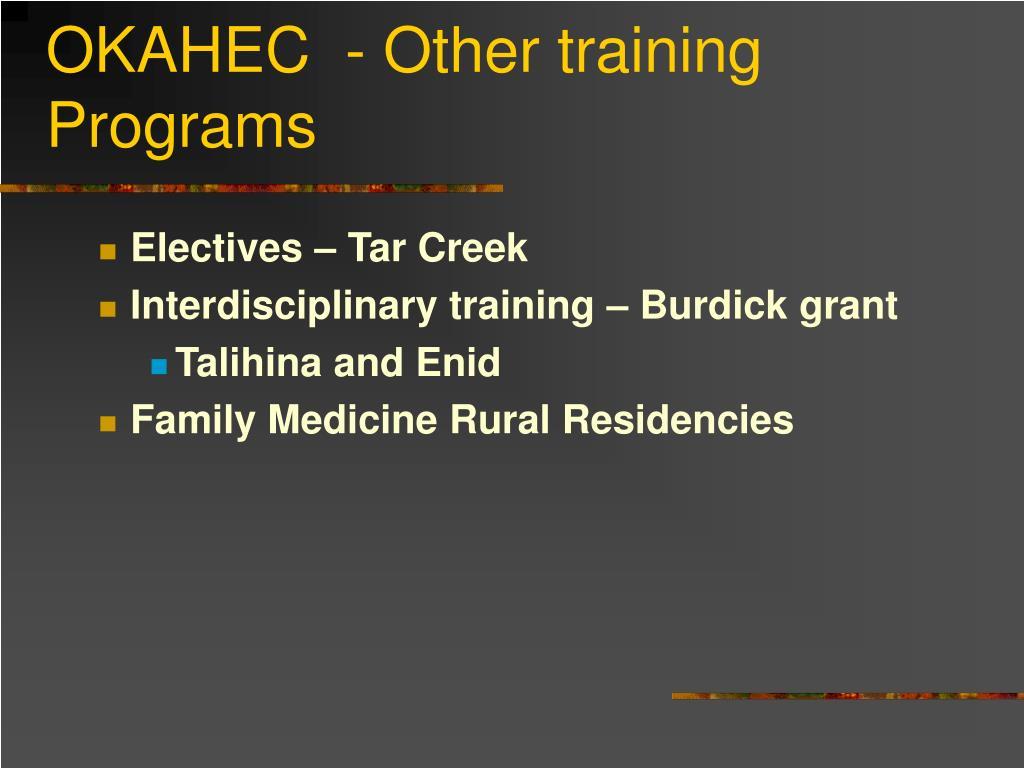 OKAHEC  - Other training Programs