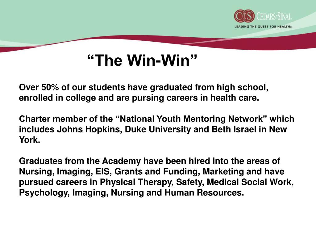 Over 50% of our students have graduated from high school, enrolled in college and are pursing careers in health care.
