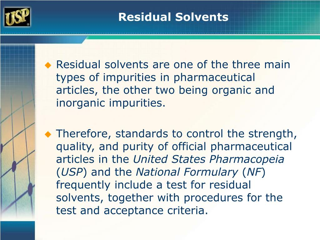 Revised USP 467 Residual Solvent Method