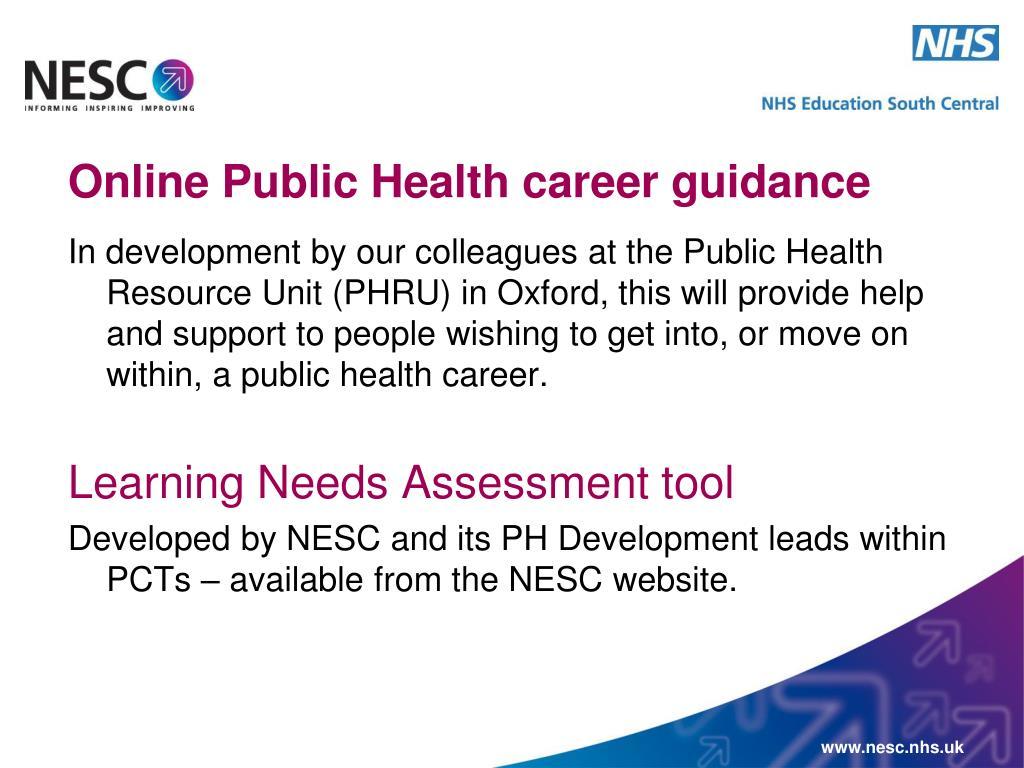Online Public Health career guidance