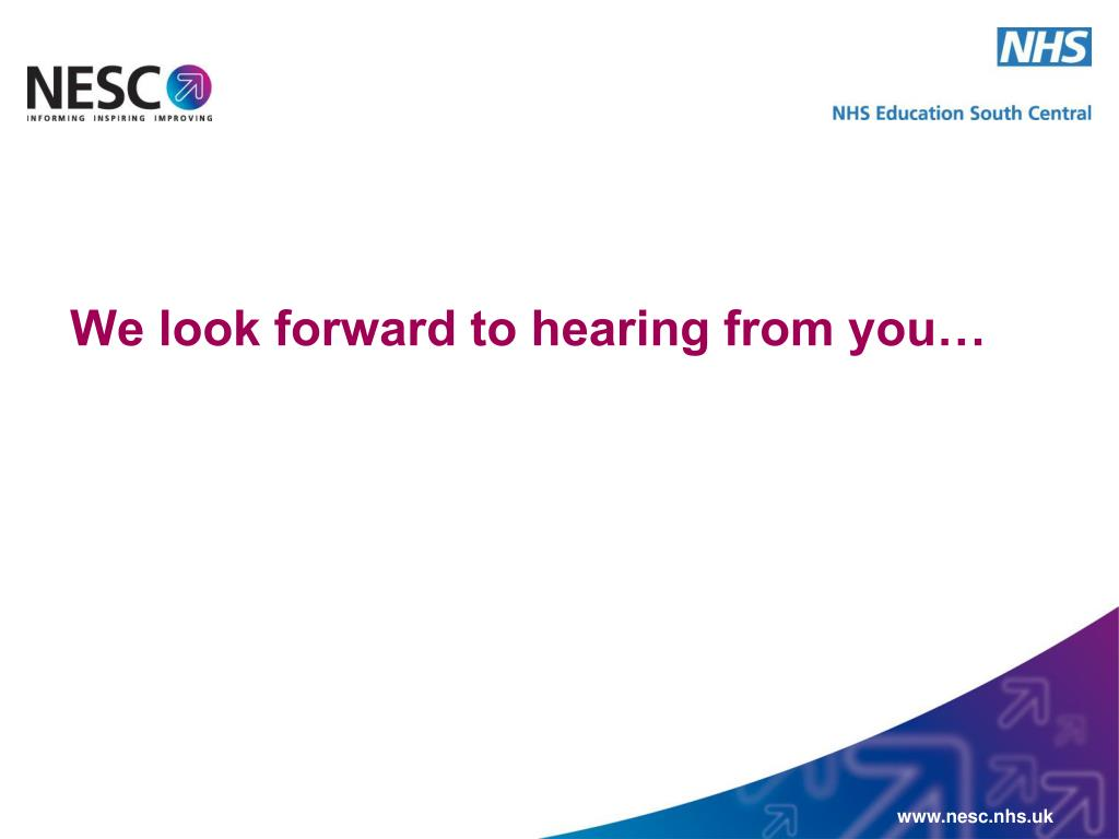 We look forward to hearing from you…