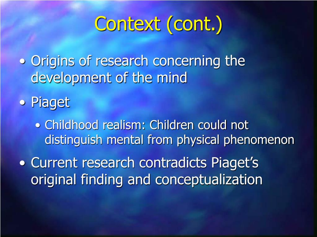 Origins of research concerning the development of the mind