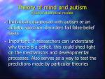 theory of mind and autism a test of theoretical models