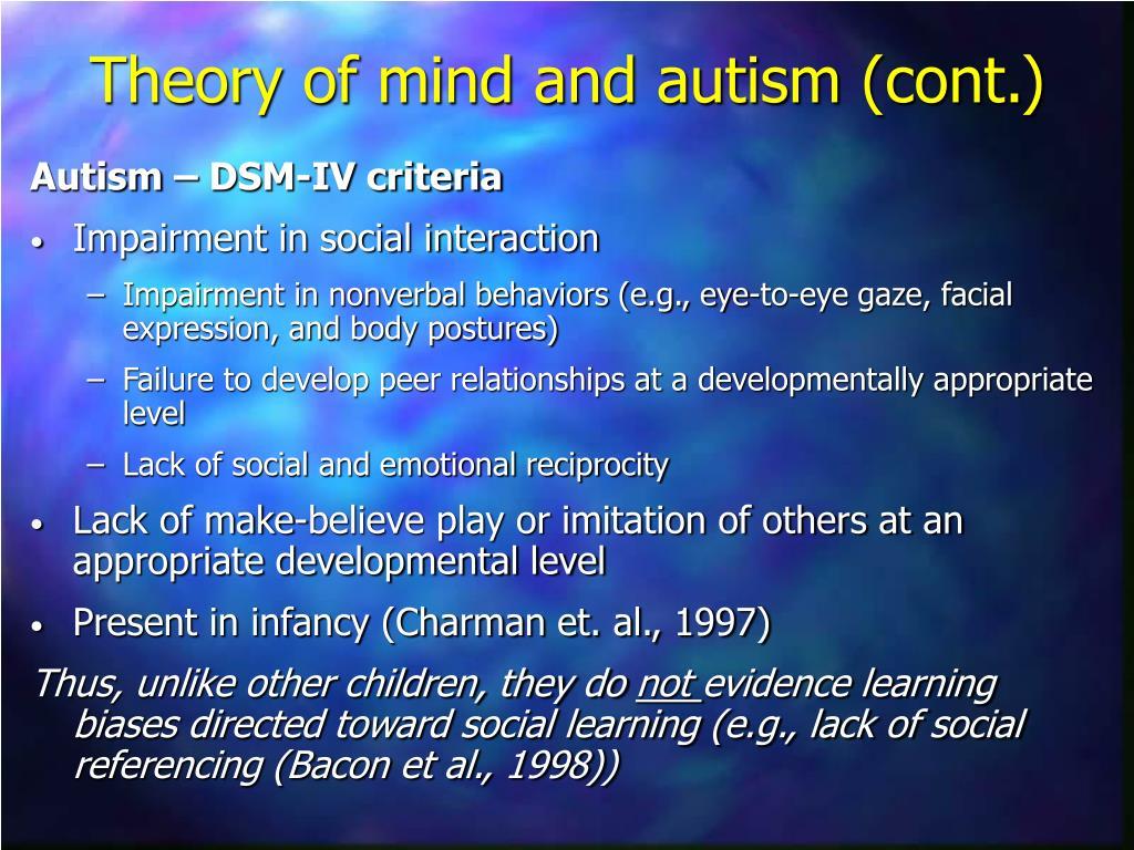 Autism – DSM-IV criteria