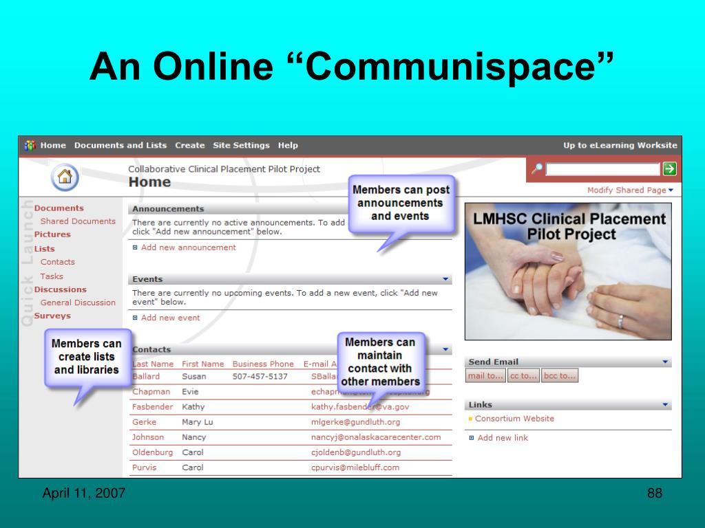 """An Online """"Communispace"""""""
