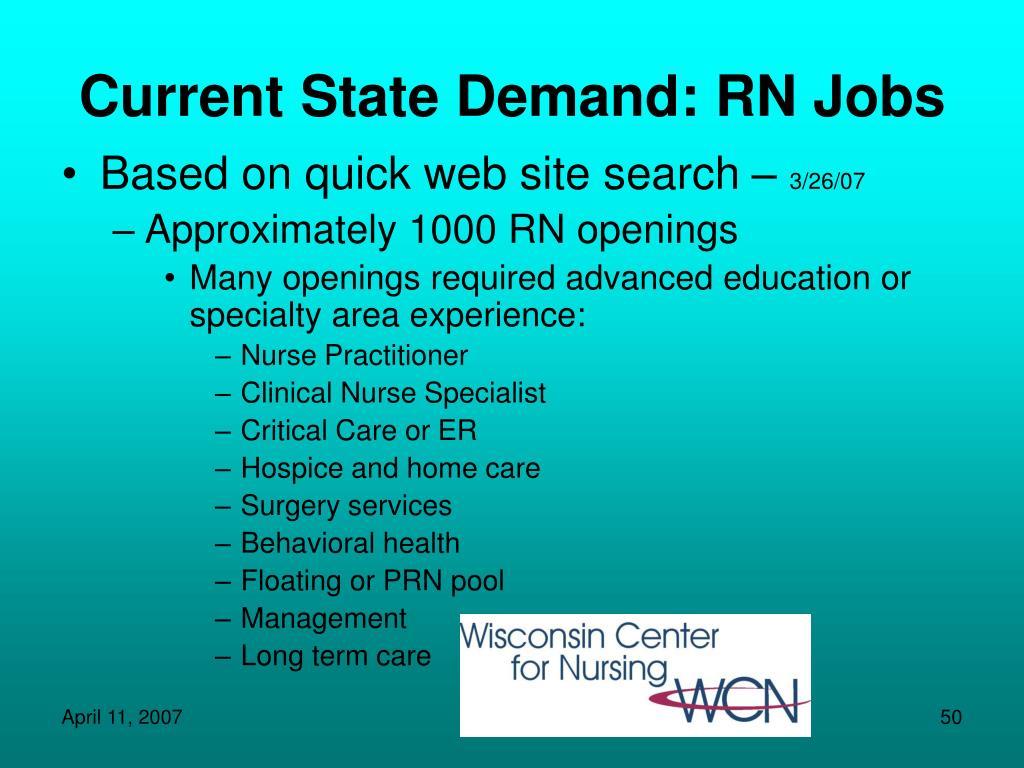 Current State Demand: RN Jobs