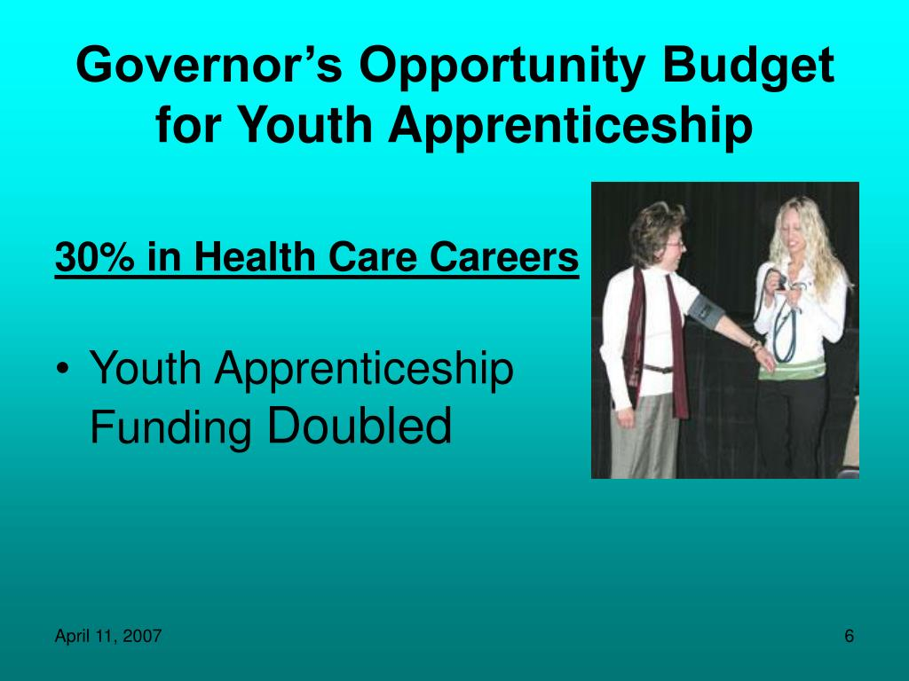 Governor's Opportunity Budget for Youth Apprenticeship