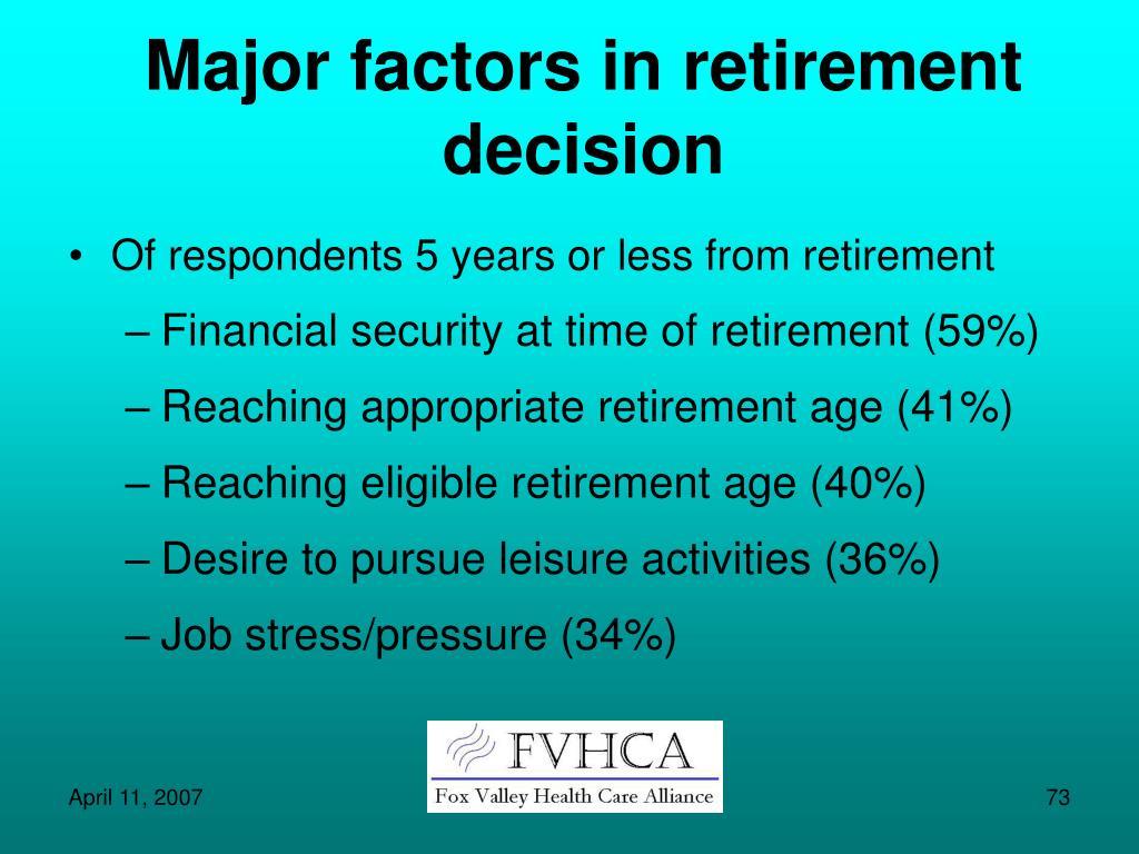 Major factors in retirement decision