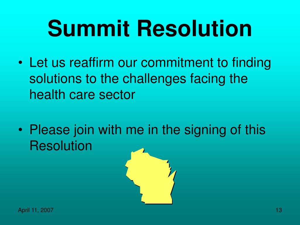 Summit Resolution