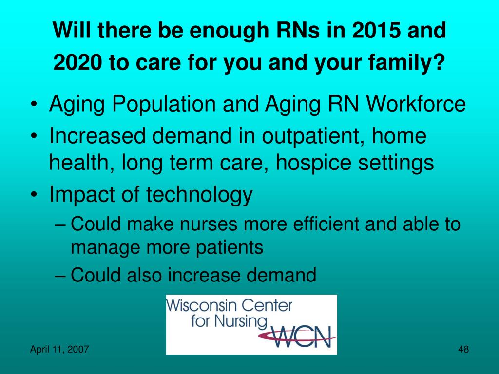 Will there be enough RNs in 2015 and 2020 to care for you and your family?
