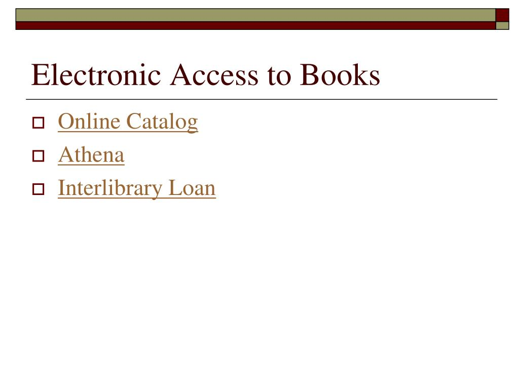 Electronic Access to Books