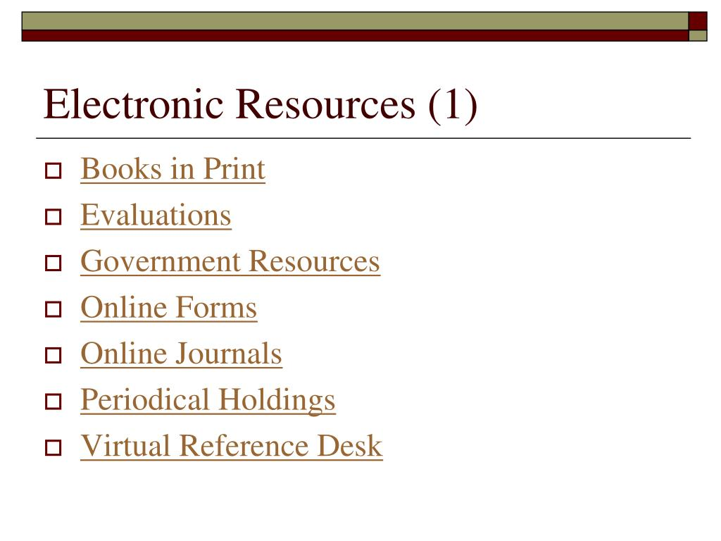 Electronic Resources (1)