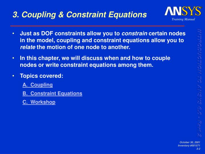 3 coupling constraint equations