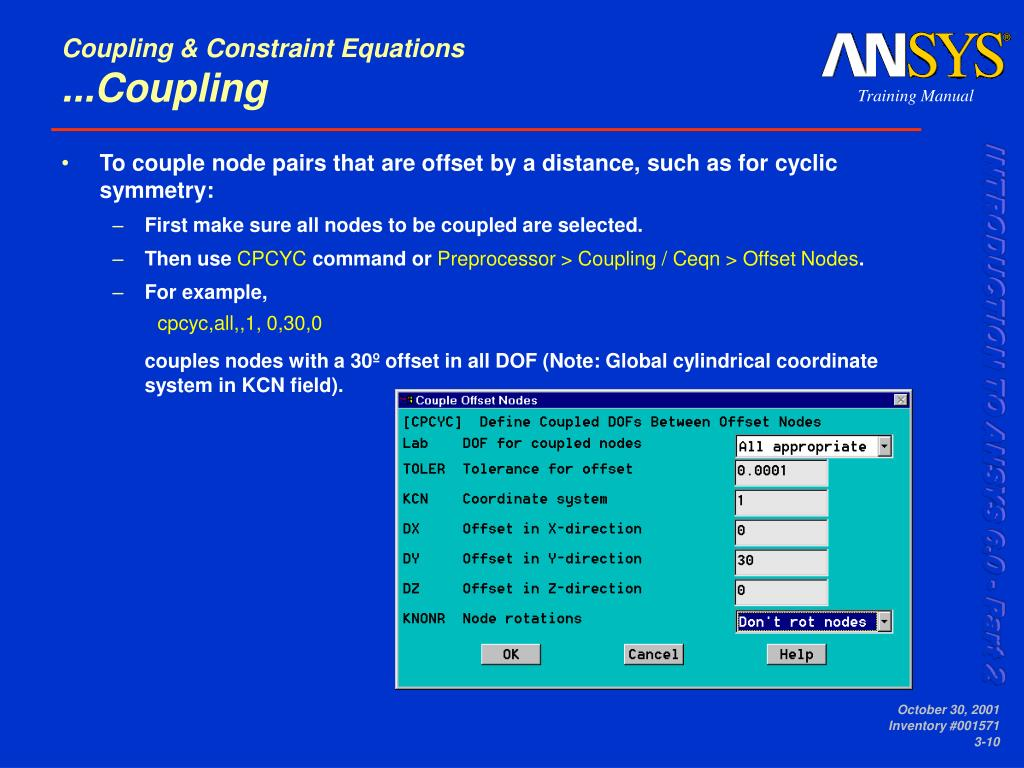Coupling & Constraint Equations
