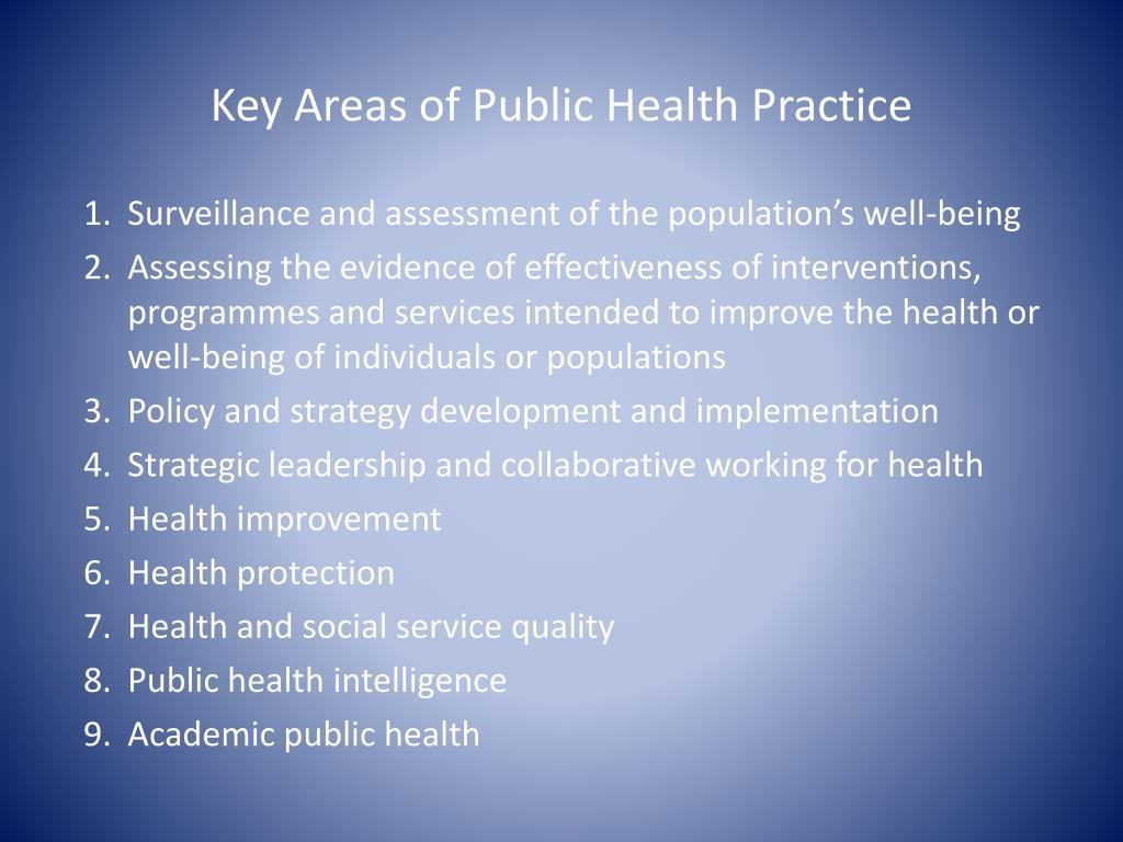 Key Areas of Public Health Practice