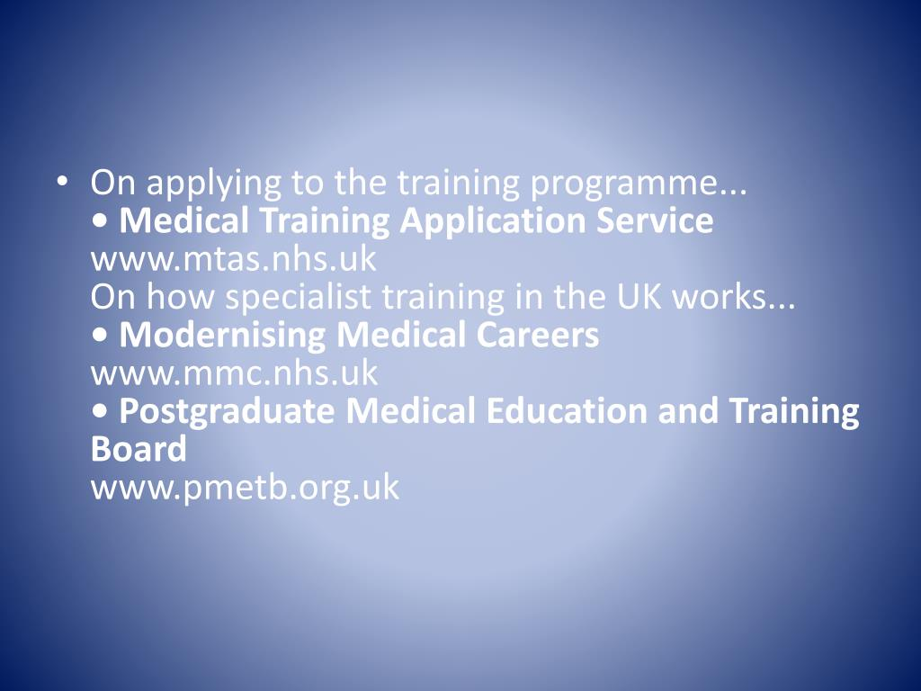 On applying to the training programme...