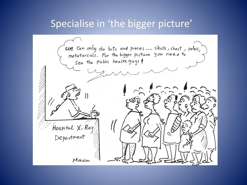 Specialise in 'the bigger picture'