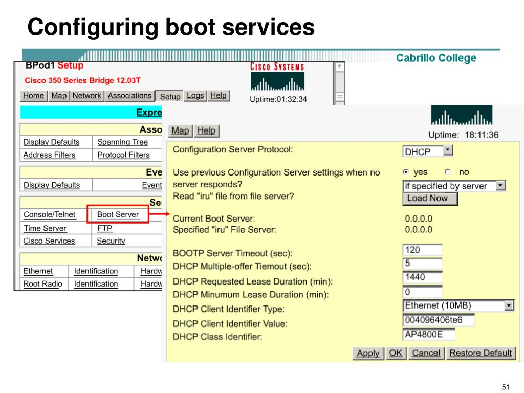 Configuring boot services