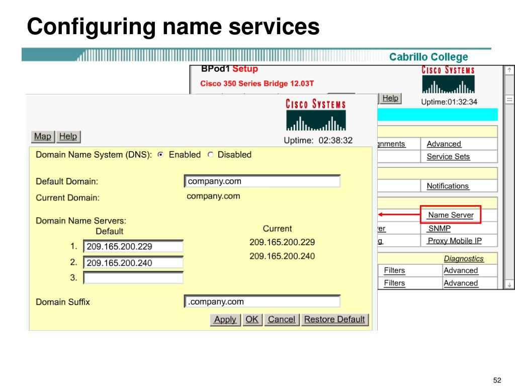 Configuring name services