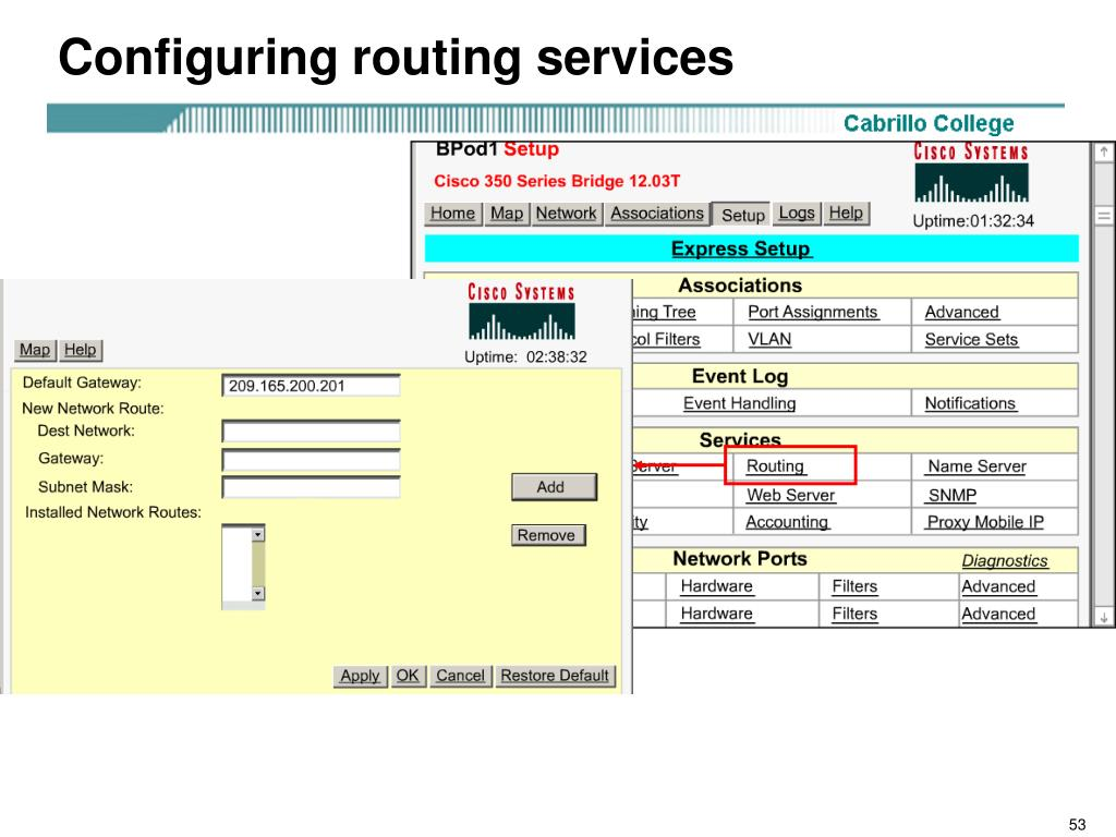 Configuring routing services