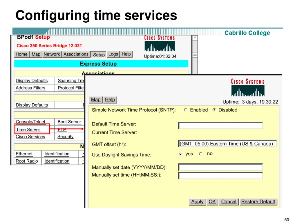 Configuring time services