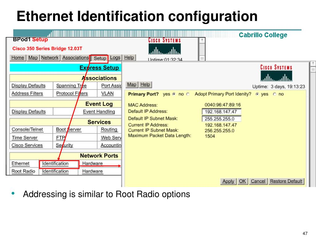 Ethernet Identification configuration