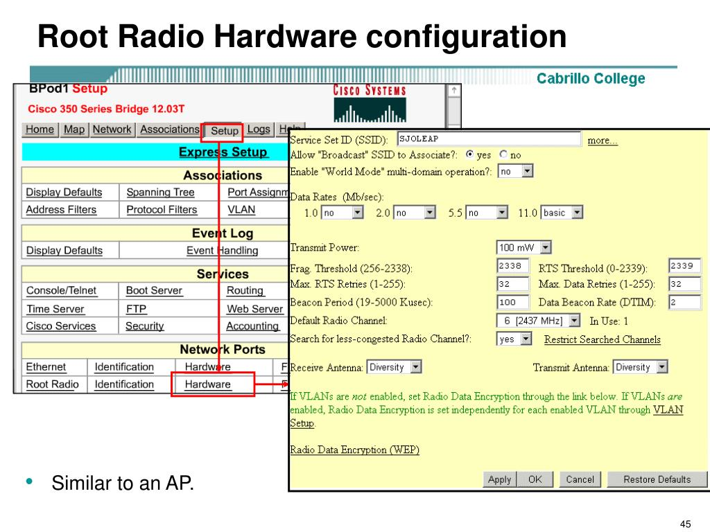 Root Radio Hardware configuration