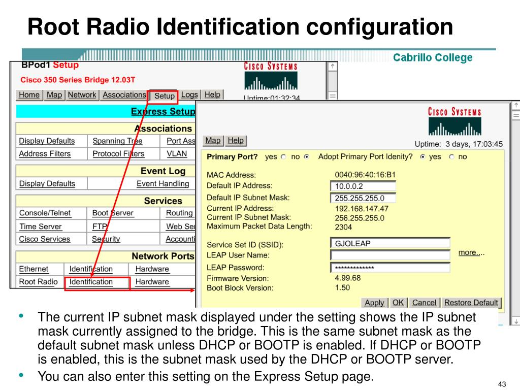 Root Radio Identification configuration