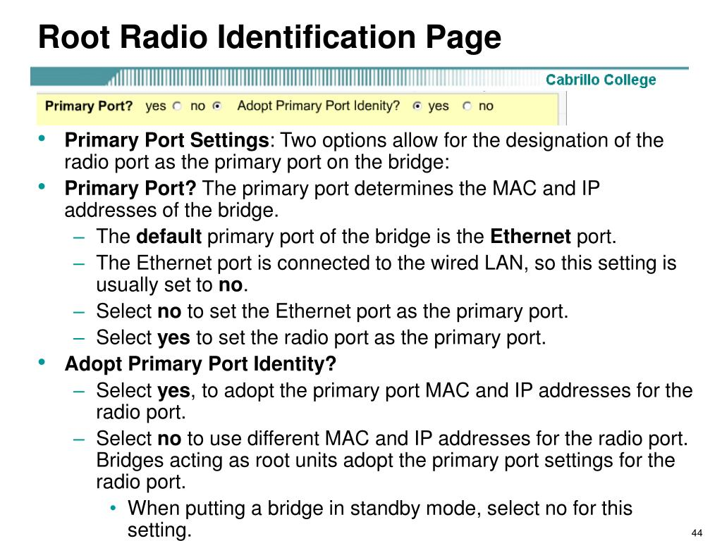 Root Radio Identification Page