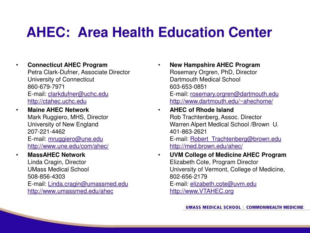 AHEC:  Area Health Education Center
